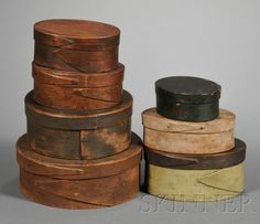 Small Lapped-seam Pantry Boxes, America, early to mid-19th century