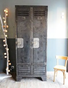 Vintage Metal Lockers I love this for a mud room or an entry way so each family/house member has their own locker