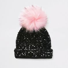 Shop our new Girls black sequin embellished beanie hat at River Island today. Stylish Caps, Pink Birthday Cakes, Unicorn Fashion, Cute Caps, Princess Dress Up, Faux Fur Pom Pom, Girls Fashion Clothes, Cool Hats, Cute Outfits For Kids