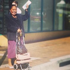72 year old pioneer sister street witnessing with a smile in Liverpool, NSW, Australia. Photo shared by @Mary Semu www.jw.org