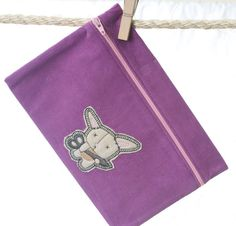 I love the colors! // Zipper Pouch  Crafty Bunny by DarnItSewWhat on Etsy, $14.00