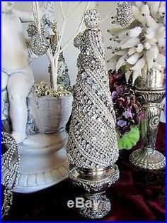 Statuesque! Vtg SOLID RHINESTONE JEWELRY CONE CHRISTMAS TREE No Frame