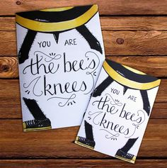 FREE printable greeting cards (You are the bee's knees) available at placetofind.co.za