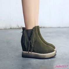 Womens Hidden Wedge Platform Round Toe Pull On Lace up Collegiate Ankle Boots sz