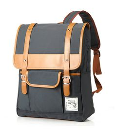 Retro Large Travel Backpack Leisure Leather Canvas Backpack ...