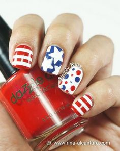 awesome Best 12 Simple July Nail Design Ideas – Patriot Day New Manicure Fashion Trend - Pepino Top Nail Art Design Get Nails, Fancy Nails, Love Nails, How To Do Nails, Pretty Nails, Hair And Nails, July 4th Nails Designs, Nail Art Designs, 4th Of July Nails