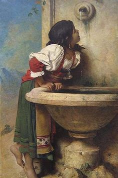 "Thanks to Alana Coons for this - 1875 oil painting by Leon Bonnat, ""Roman Girl at a Fountain"", New York's Metropolitan Museum of Art - likely inspired the 1924 signed Mexican tile on the Sunset Blvd Spanish Revival home. Art Amour, Fine Art, Beautiful Paintings, Classic Paintings, European Paintings, Art Paintings, Art Reproductions, Metropolitan Museum, Painting & Drawing"