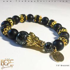 Men S Dragon Bracelet Lava Bead Handmade Black Matte Head 10mm