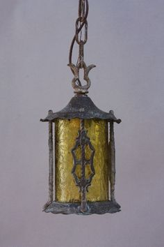 sweet little spanish revival pendant with original patina and glass perfect for small areas inside