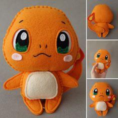 Felt Crafts Patterns, Plushie Patterns, Felt Crafts Diy, Felt Diy, Handmade Felt, Pokemon Dolls, Pokemon Craft, Charmander Pokemon, Anime Toys