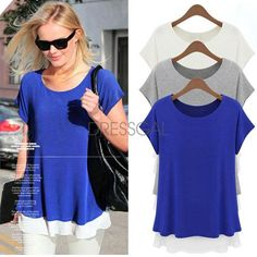 Women's Chiffon Edge Color Round Collar Short Sleeve Loose T-Shirt Blouse