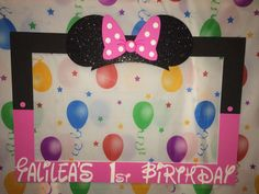 photo frame party prop Mickey minnie mouse por titaspartycreations