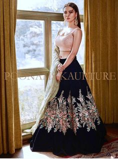 Gorgeous Black Pink Floral Lehenga by Poonams Kaurture. Black Lehenga, Floral Lehenga, Bridal Lehenga, Choli Designs, Lehenga Designs, Bollywood Outfits, Bollywood Fashion, Indian Wedding Outfits, Indian Outfits