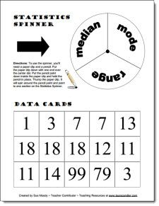 Free Dynamic Data Game for practicing range, mode, and median. From Laura Candler's Teaching Resources