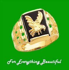 Gold Eagle Black Onyx Rectangular Polished 14K Yellow Gold Band Ring