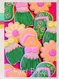 Luau Theme Cookies - Hula Girl Theme! - Made to Order Custom Decorated Cookies