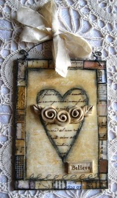 Note 2 self : try this with paper scraps used for the border.  Vintage Roses Mixed Media Art
