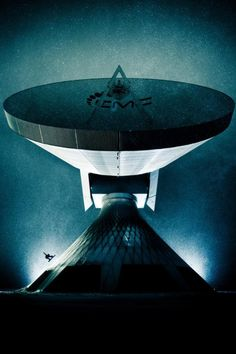 Lorenz Holder photo of snowboarder Xaver Hoffman 'riding' a satellite dish in Germany.