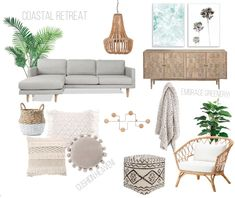 Creating moodboards has been a passion of mine every since I started studying and working in the Interior Design industry. I believe they really help with insp Living Room Lounge, Boho Living Room, Living Room Decor, Dining Room, Coastal Living Rooms, Living Room Interior, Home Interior Design, Coastal Cottage, Coastal Homes