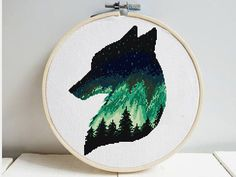 Northern lights wolf silhouette cross stitch pattern, galaxy, polar night, Nordic, forest, landscape, animal, modern counted cross stitch