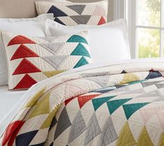 I WILL have this bedding for our master bedroom... I just need it to go on sale :( Mitsy Triangle Patchwork Quilt & Shams | Pottery Barn