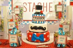 Check out the fun cake at this Mustache, Bowties, and Cocktails Baby Shower! See more party ideas and share yours at CatchMyParty.com