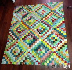 Scrappy Trip Around the World Quilt Top @ Justabitfrayed