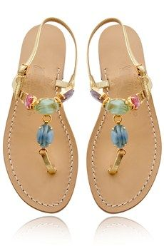 Pretty! AMEDEO CANFORA  MILLY Multicolor Stone Sandals