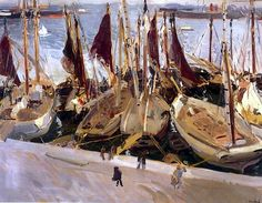 Boats in the Port, Valencia, 1904 Joaquín Sorolla