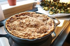 Skillet Apple Crumb Pie recipe. I love cooking in cast iron! Gonna try a cherry pie today!
