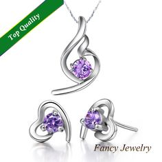 Purple Austrian Crystal Boucles d'oreilles et Collier,Heart Jewelry for Bridal Girls Lover's Gift,New Wedding Accessories T020 $7.59