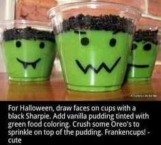 Frankenstein face pudding cups... SO cute and SO easy!