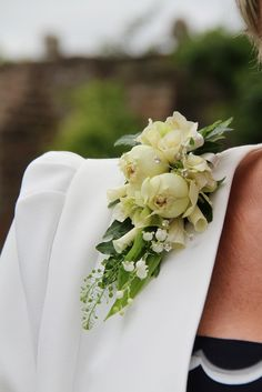 The Groom's Mum's Corsage of Rolled Rose Petals, Fresh Lily of the Valley, Blanchette Roses to match her Son's Boutonniere