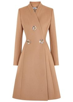 Stella McCartney camel wool coat Stand collar, button embellishments, fully lined Concealed press stud fastening at front 75% wool, 25% polyamide; lining: 50% rayon, 50% cotton