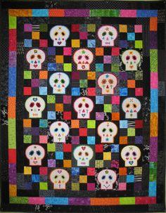 Sugar Skull Lap Quilt by BadBabyQuilts on Etsy, $600.00