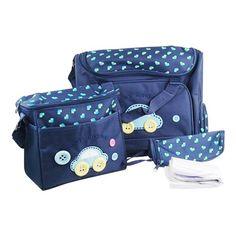SODIAL(R) 4pcs lindo como boton bordado bebe cambio de panales Bolsas Establece Azul Oscuro