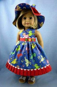 Kittens Sundress and Hat for American Girl Dolls - Blue and Coral