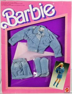 Barbie The Jean Look Fashions Foreign New Never Removed from Pack 1987 Mattel Barbie, Old Barbie Dolls, 1980s Barbie, Free Barbie, Barbie Dress, Vintage Barbie, Dolls Dolls, Vintage Dolls, Girl Dolls