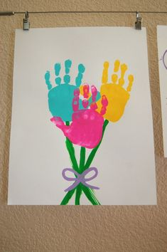 Flower handprints. We're saving this one for a rainy day. So sweet and easy. Could be great for a simple Father's Day card, too!