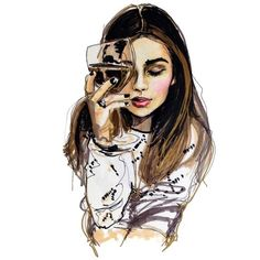 girl and her wine ❤ liked on Polyvore featuring drawings, fillers, sketch, girls and drawing