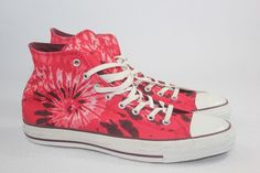 320ab8247aa1 Converse Red All Star Tie Dye Printed Canvas Hi-Top Boot Size 13 Mens