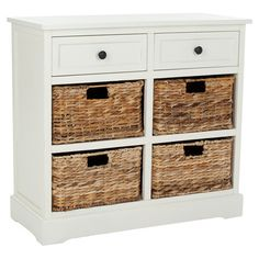 Bring breezy style to any room with this classic cabinet, showcasing a distressed cream finish and 4 woven wicker baskets.  Sty...