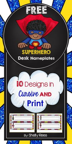 "FREE Superhero Nameplates - SO cute AND they are free! LOVE!!! .....Follow for Free ""too-neat-not-to-keep"" teaching tools & other fun stuff :)"
