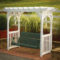 Arbor with a porch swing. Great idea for my back yard.