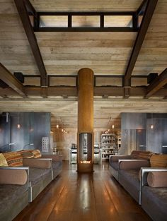 Olson Kundig Architects - Projects - Shadowboxx - reclaimed scaffolding planks are used for the ceiling