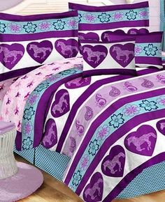 Purple & Blue Girls Pony Horse Twin Comforter Sheets Sham 6 Piece Bed In A Bag  #BedInABag