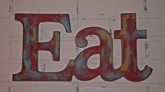 EAT Sign / Kitchen Wall decor /aqua / Red /Mustard /