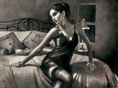 Fábian Pérez - Tess on Red Bed