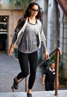 Katie Holmes in a Colorfast burnout sleeve-less tee