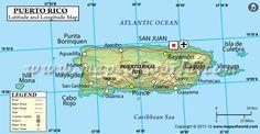 Puerto Rico Latitude and Longitude Map